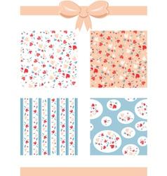Set of Vintage Valentine Patterns vector image vector image