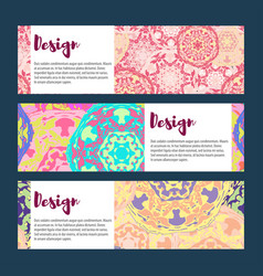 Templates banners set floral mandala pattern and vector