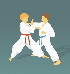 Two boys are engaged in karate against a dark vector