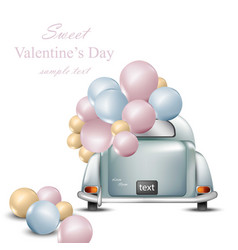 Vintage retro car with balloons valentines day vector