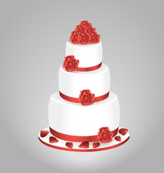 Wedding cake with red roses vector image vector image