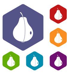 Whole pear icons set hexagon vector