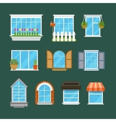 Windows with window sills curtains flowers vector image vector image