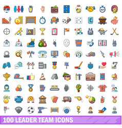 100 leader team icons set cartoon style vector