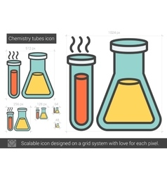 Chemistry tubes line icon vector