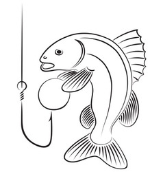 Fish with bait vector