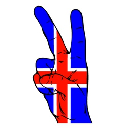 Peace sign of the icelandic flag vector