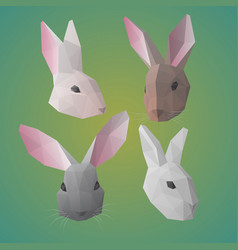 Polygonal rabbit or hare heads collection vector