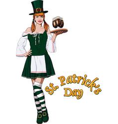 irish waitress with beer vector image