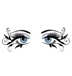 Eyes floral blue vector