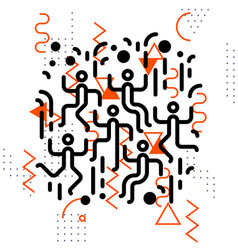 Dancing people party abstract geometric elements vector