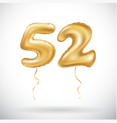 Golden number 52 fifty two metallic balloon party vector