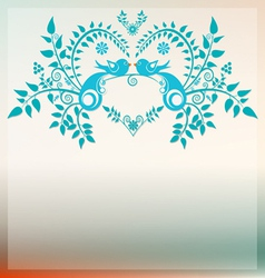 Heart with love blue birds vector
