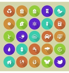 Set of colored ecology icons on round background vector