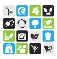 Silhouette environment and conservation icons vector