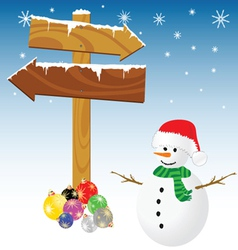 Snowman and winter color vector