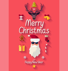Red christmas poster vector image