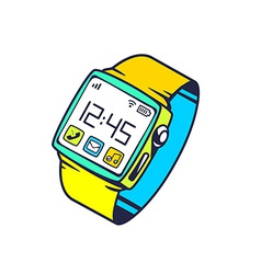 Smart watch with button on white backgrou vector