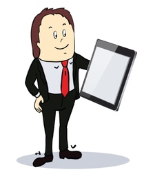 Businessman pointing to the screen of a tablet-pc vector