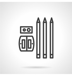 Pencils and sharpener simple line icon vector