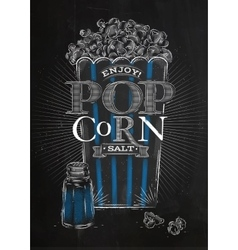 Poster popcorn salt black vector