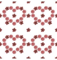 Pink hearts flowers seamless pattern background vector