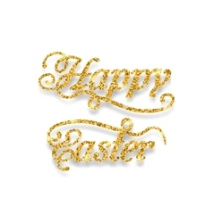 Abstract golden hand written easter phrase vector