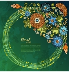 Greeting card with flowers background for web vector