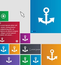 Anchor icon sign buttons modern interface website vector