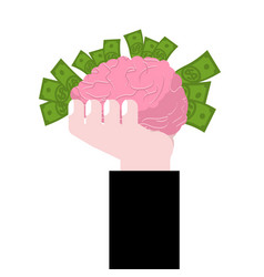 Brain in hand human brains and money business vector