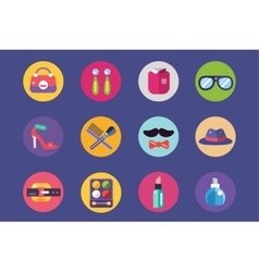 Clothes and fashion icons set shopping bag vector