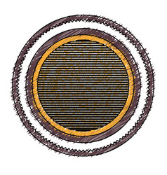 Color pencil heraldic circular figure stamp with vector