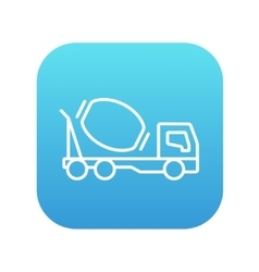 Concrete mixer truck line icon vector