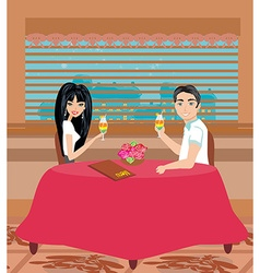 Couple drinking a cocktail at the restaurant vector