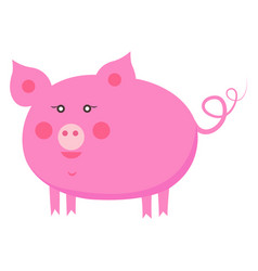 cute piggy cartoon flat sticker or icon vector image