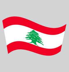 Flag of lebanon waving on gray background vector