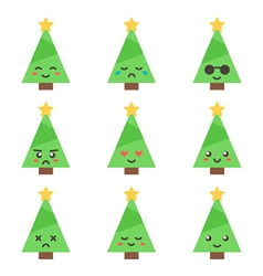 Flat design cartoon cute christmas tree characters vector image vector image