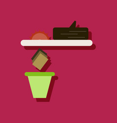 Flat icon design collection paper and trash in vector