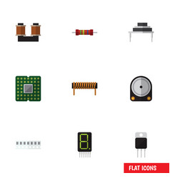 Flat icon technology set of hdd coil copper vector