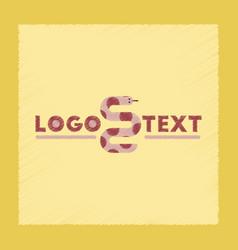 Flat shading style icon snake logo vector