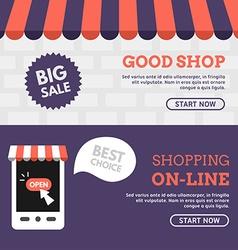 Good shop shopping on-line set of flat design vector