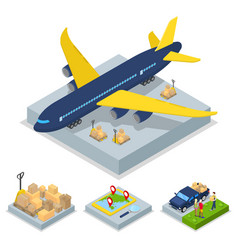 isometric delivery concept air cargo plane vector image vector image