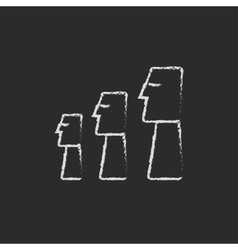 Moai statues on easter island icon drawn in chalk vector