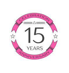 Realistic fifteen years anniversary celebration vector