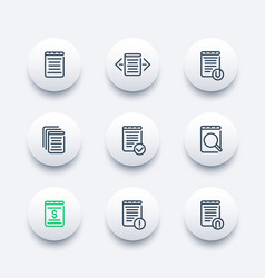 reports documents account records line icons vector image vector image