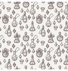 Seamless pattern with magic glass flasks Science vector image