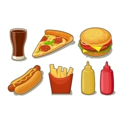 Set fast food icon glass of cola hamburger vector