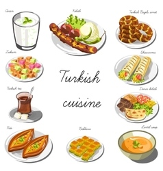 Turkish asia cuisine set collection of food vector