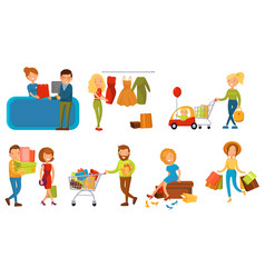 various people shopping in a mall set smiling vector image