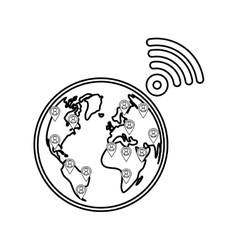 World internet connection vector image